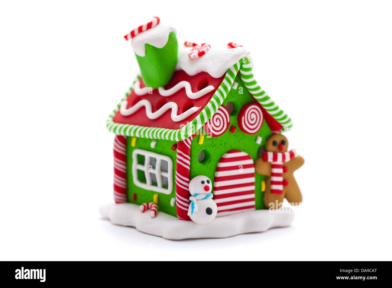 Christmas Gingerbread House Background.Christmas Gingerbread House Decoration On White Background