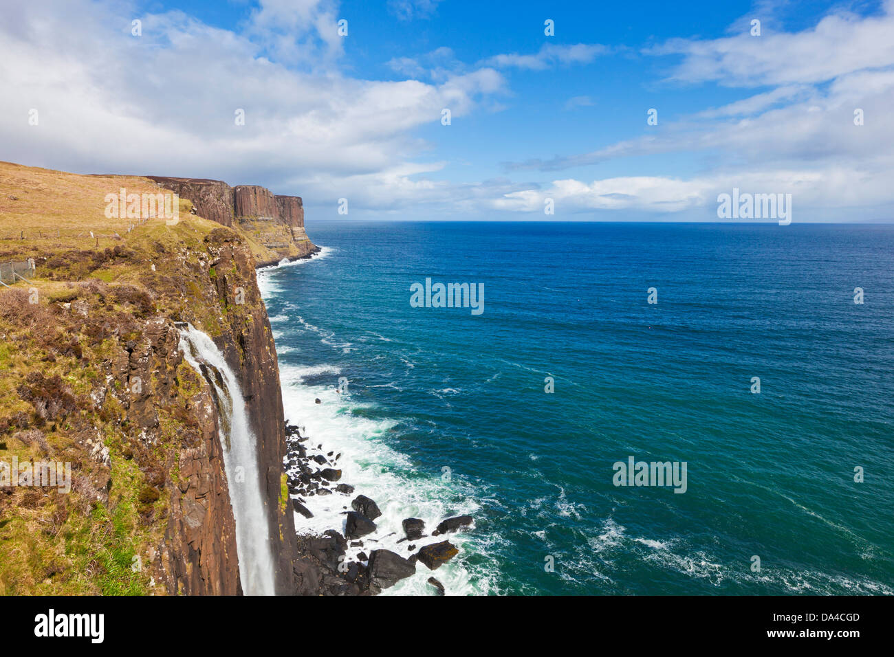 Kilt rock waterfall Isle of Skye Highlands and Islands Scotland UK GB EU Europe - Stock Image