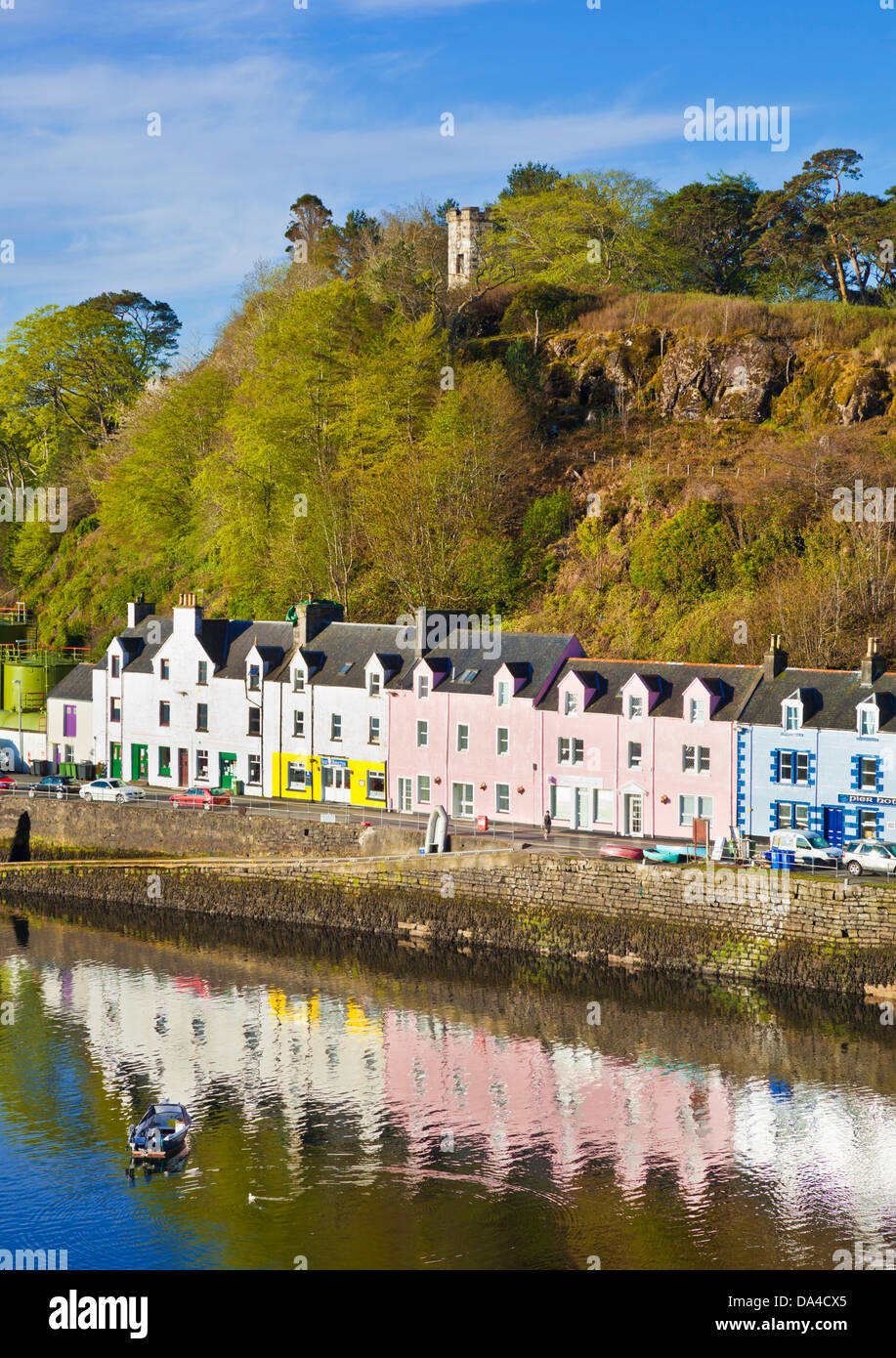 coloured houses in Portree harbour Isle of Skye Highlands and Islands Scotland UK GB EU Europe - Stock Image