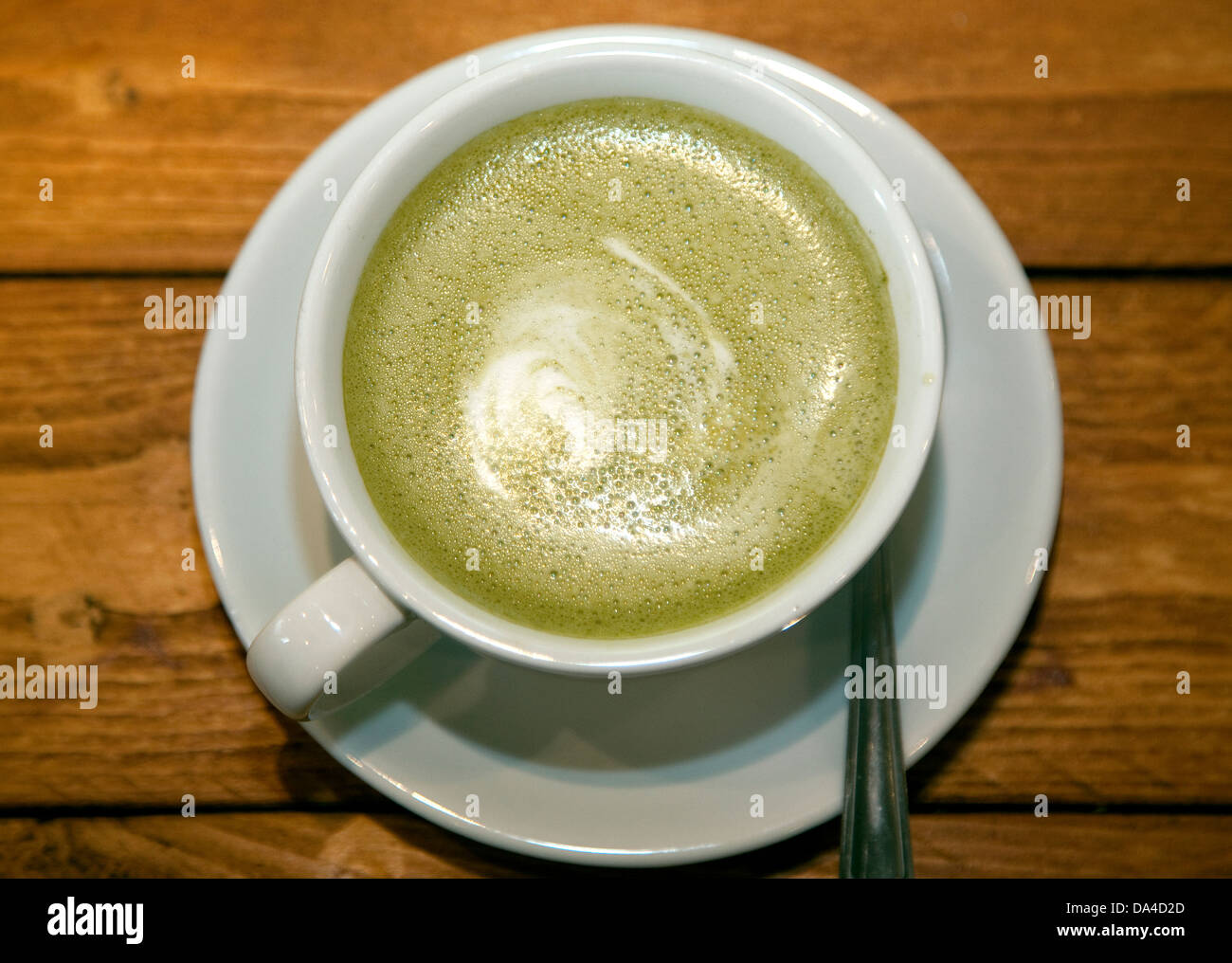 Brew Box bubble tea shop, Islington, London - Matcha Latte drink often served with white chocolate - Stock Image