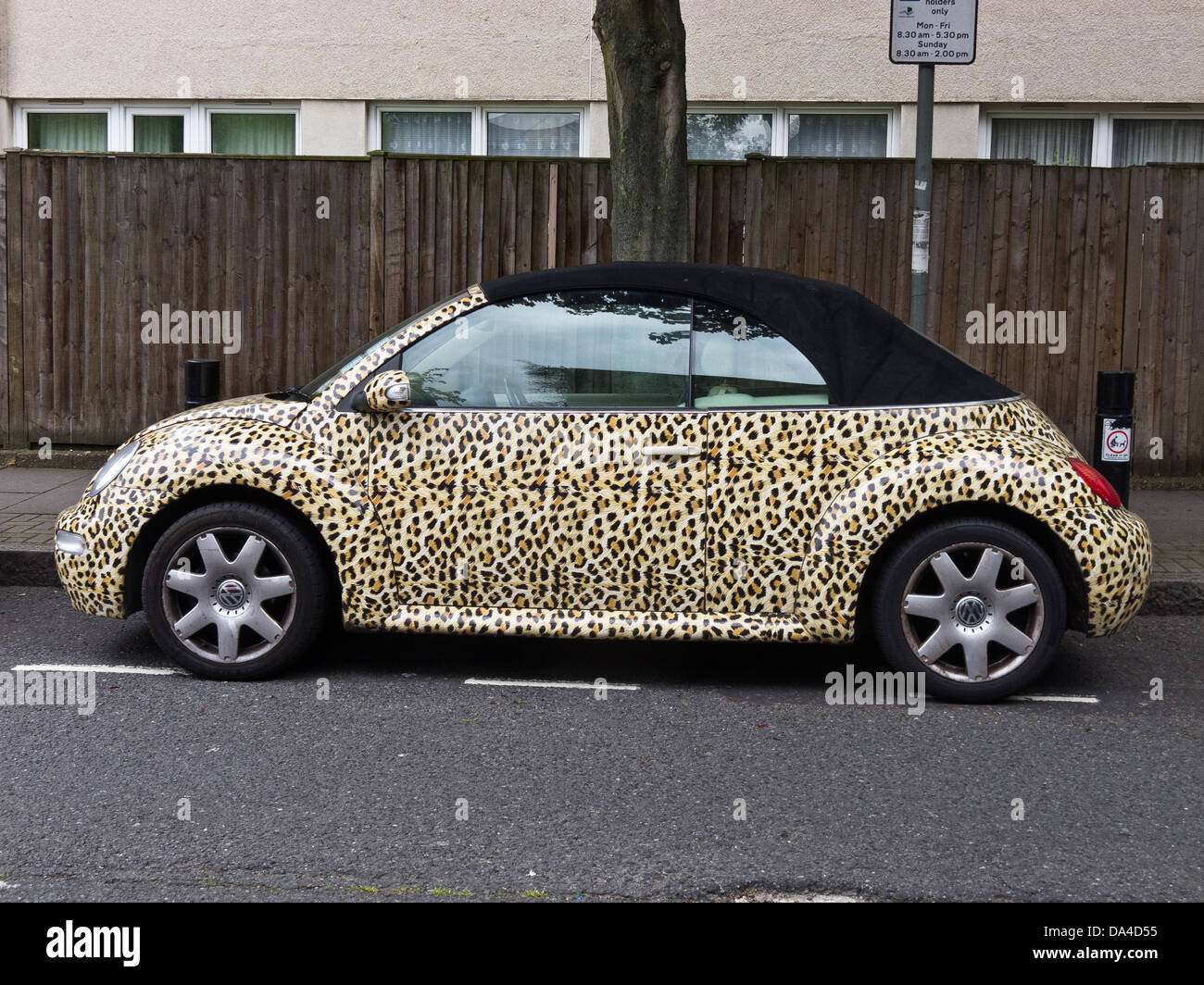 Volkswagen Beetle painted with leopard skin - Stock Image