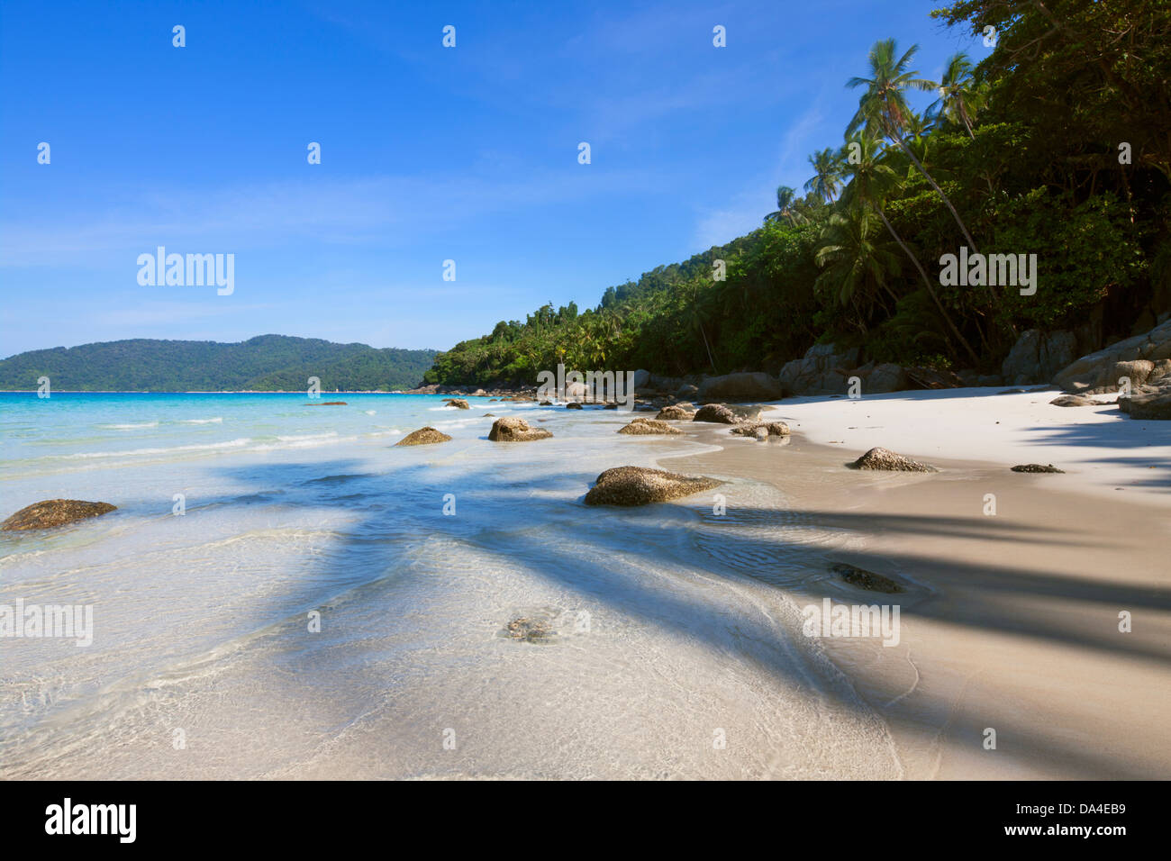 Deserted beach, Perhentian Islands, Terengganu, Malaysia - Stock Image
