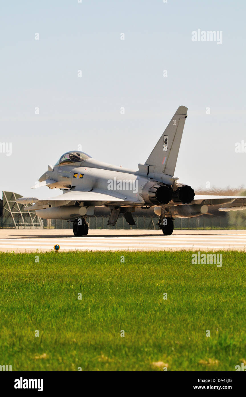 Eurofighter Typhoon aircraft of 11 squadron waiting to take off from RAF Coningsby Stock Photo