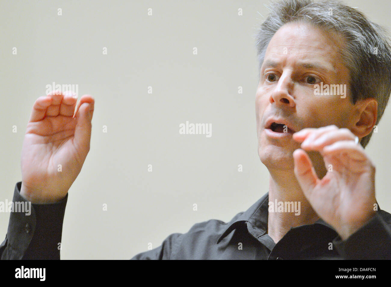 Composer and conductor Steven Mercurio is seen at rehearsal of his A Grateful Tail Symphony during the 9th International - Stock Image