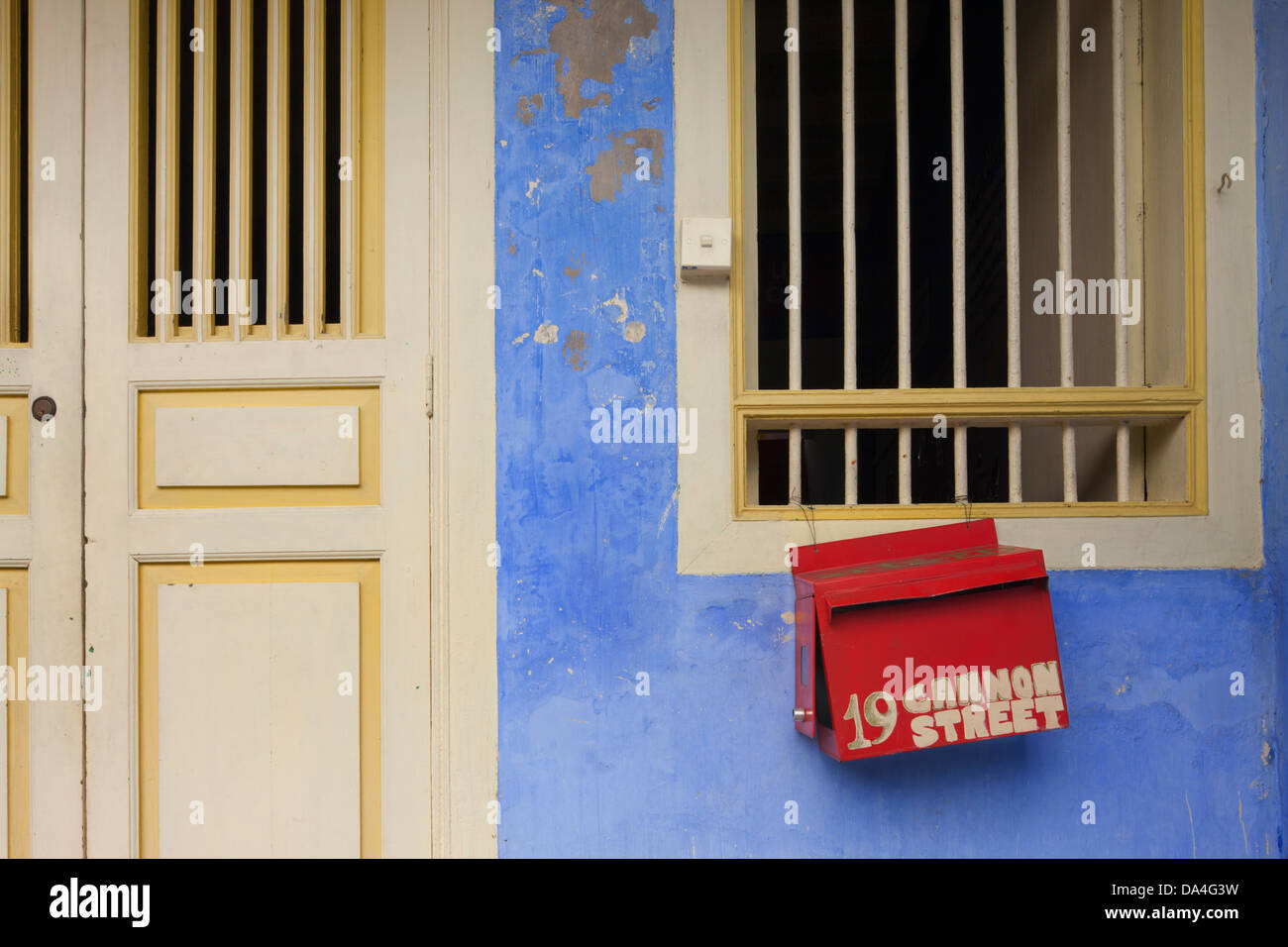 Colourful doorway, Georgetown, Penang, Malaysia - Stock Image