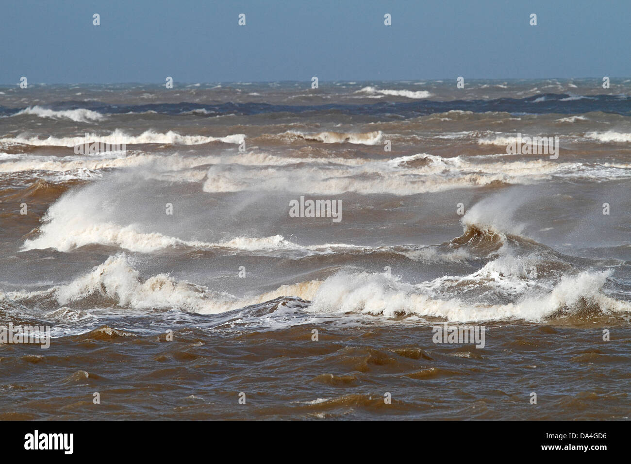 Windblown breakers on a rough sea Liverpool Bay UK September 4862 - Stock Image