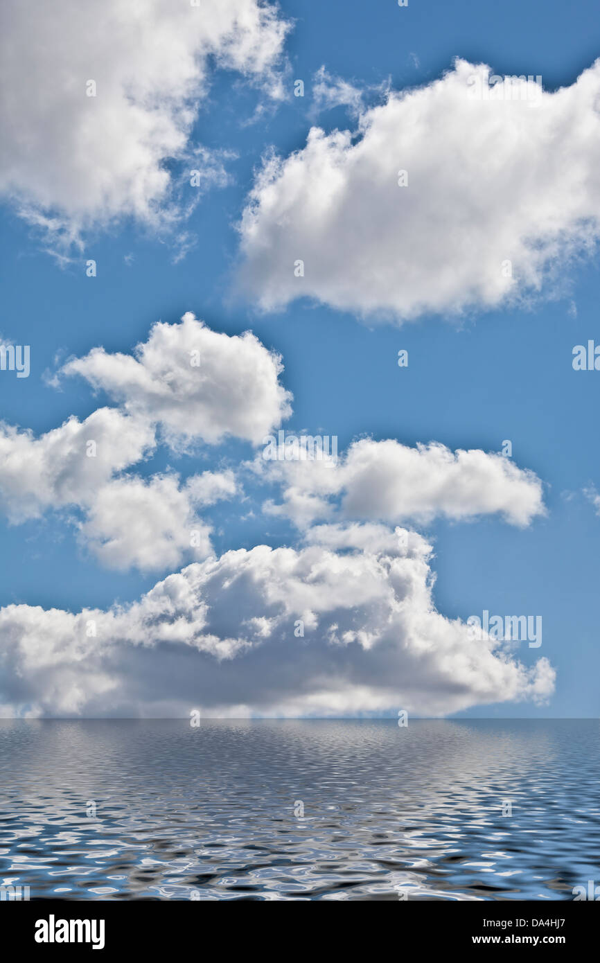 White clouds in blue sky - Stock Image