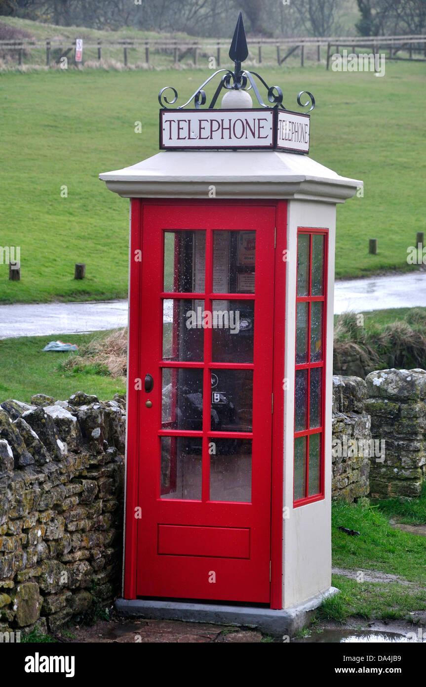 The telephone kiosk at Tyneham Dorset UK - Stock Image