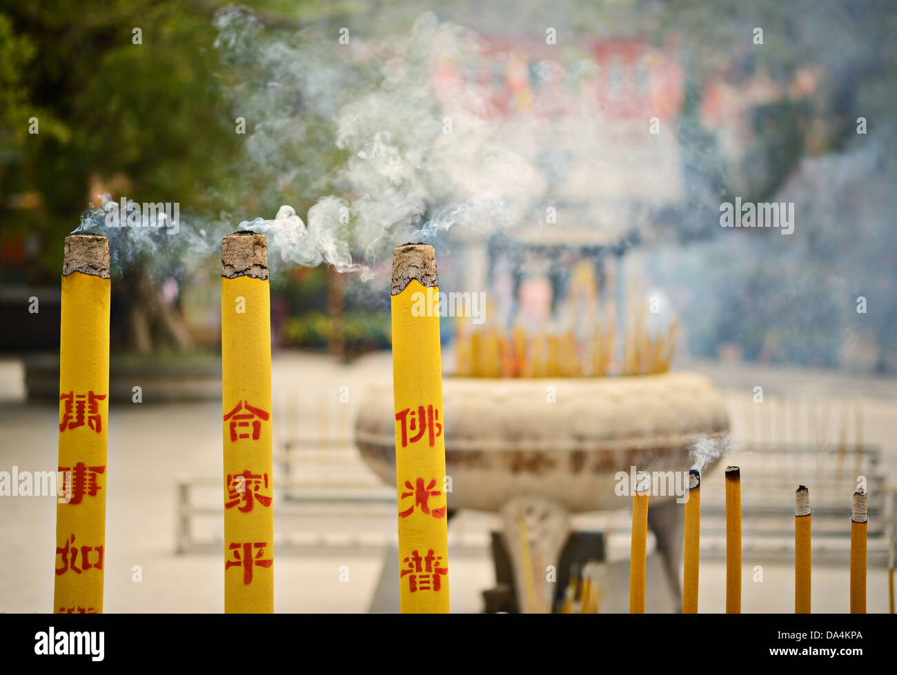 Incense burn at a temple on Lantau Island, Hong Kong SAR, China. - Stock Image