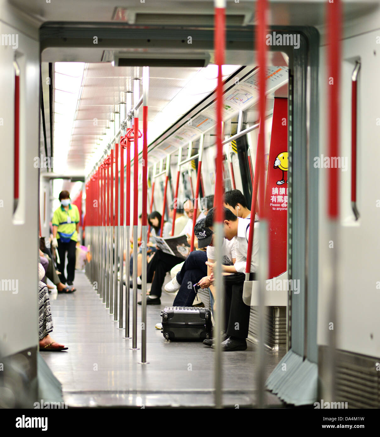 Hong Kong MTR subway car interior. - Stock Image