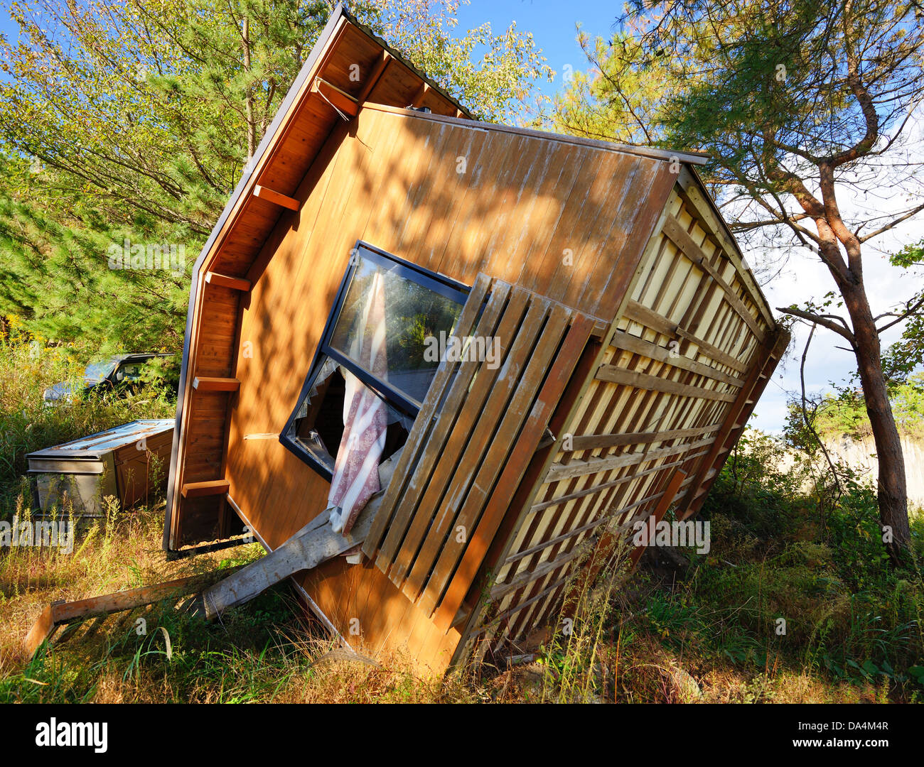 Overturned house, damed in the 2011 Tōhoku earthquake and tsunami located in Matsushima, Japan. - Stock Image