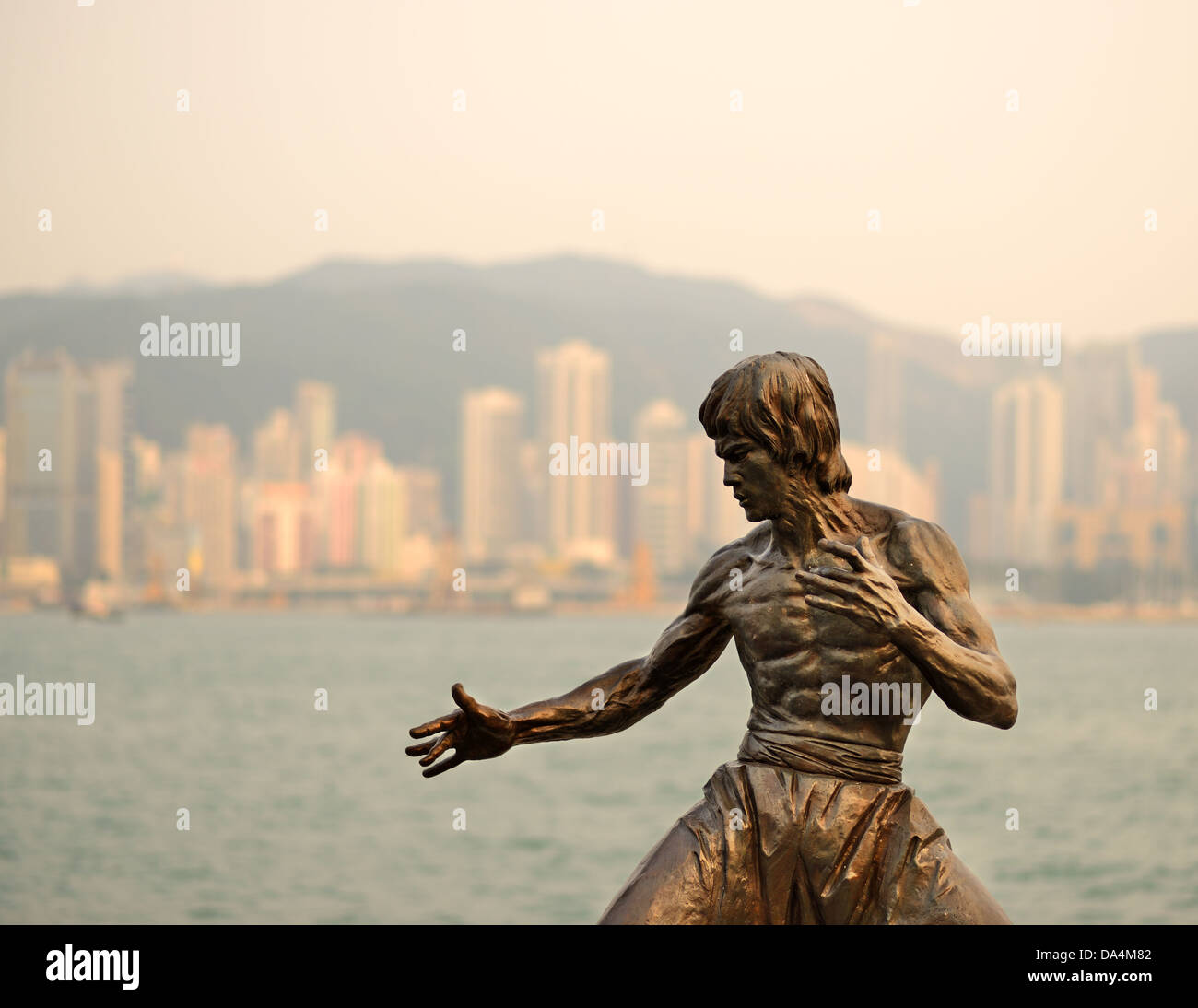Bruce Lee monument at the Avenue of the Stars in Hong Kong, China. - Stock Image