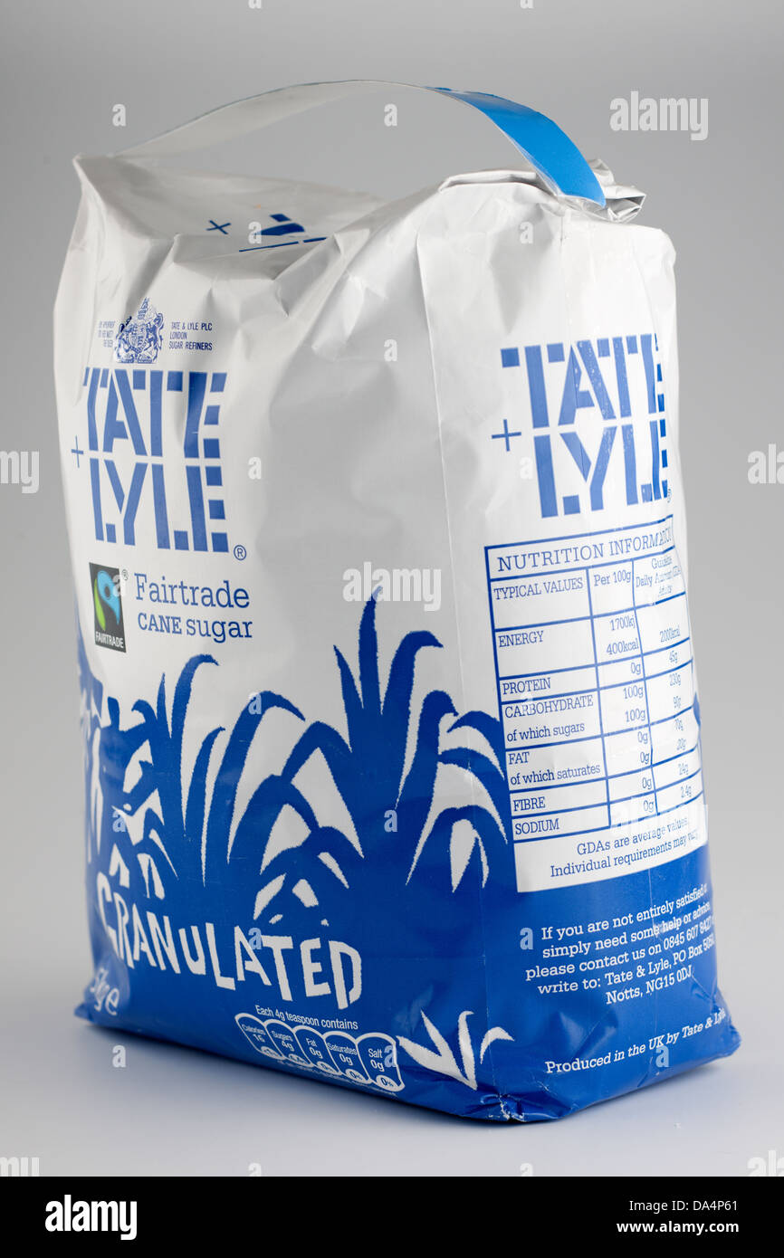 Five kilo bag of Fairtrade Tate and Lyle granulated sugar 5KG 5 kilo - Stock Image