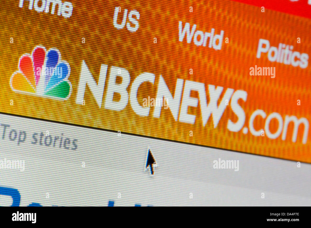 Close up of the NBC News logo as seen on its website. (Editorial use only: ­print, TV, e-book and editorial - Stock Image