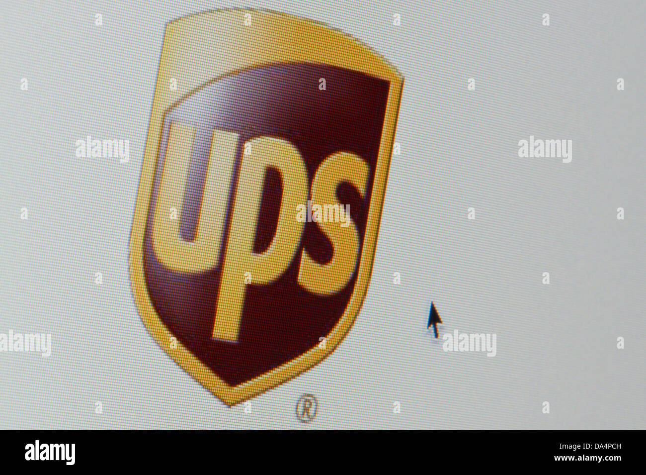 Close up of the UPS logo as seen on its website. (Editorial use only: ­print, TV, e-book and editorial website). - Stock Image