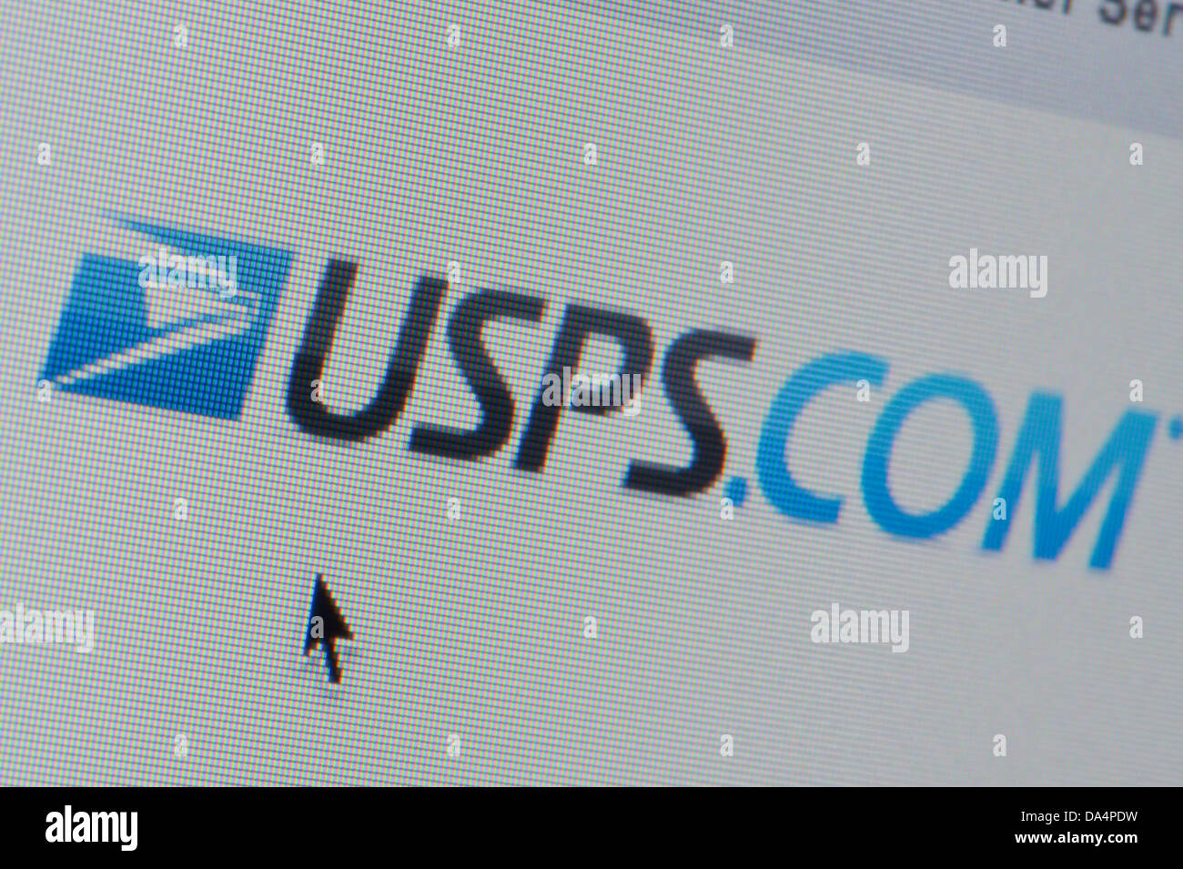 Close up of the USPS logo as seen on its website  (Editorial
