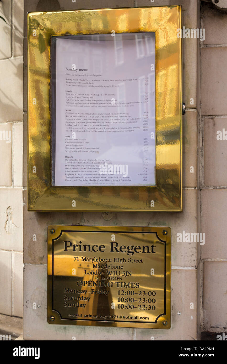 Prince Regent Brass Address Plate and Menu Display Case - Stock Image
