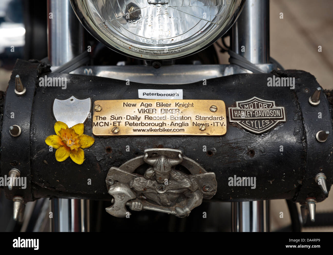 Harley-Davidson motorcycle owned by Viker Biker, Peterborough, England - Stock Image