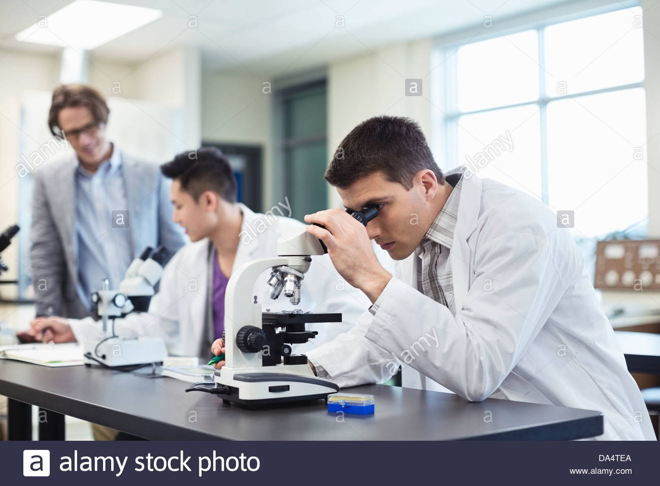 Male student using microscope in college science lab - Stock Image