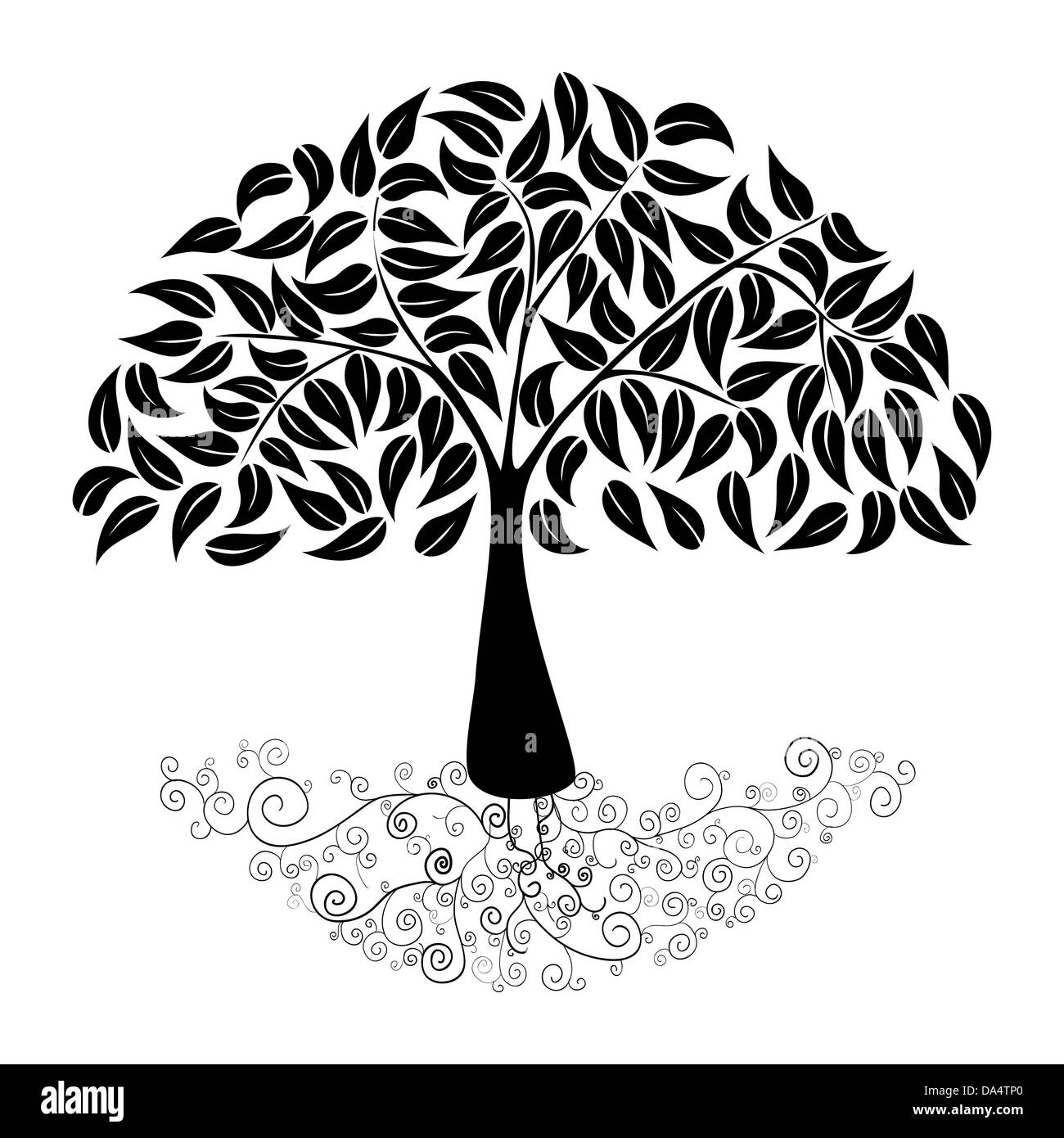 Black Tree curly roots silhouette isolated. Vector file layered for ...