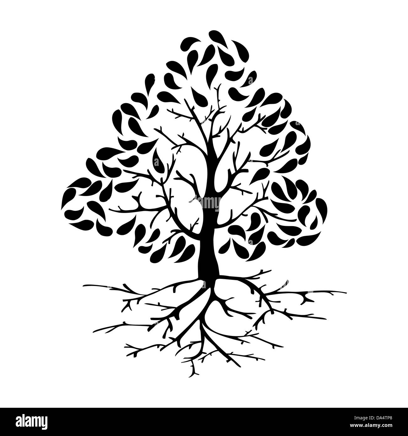 Black tree silhouette illustration with roots. Vector file layered ...