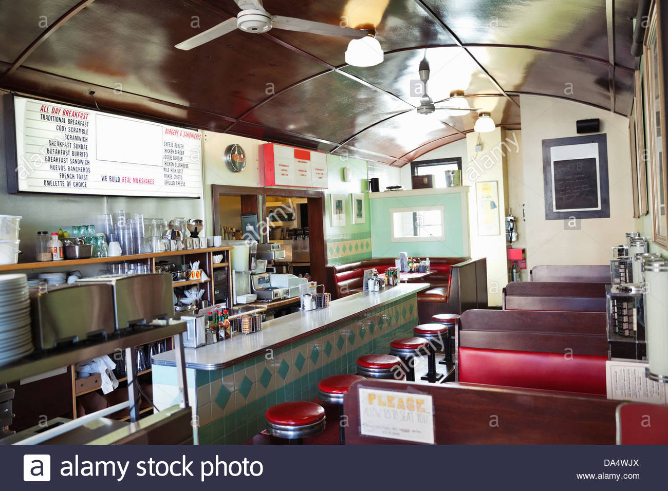 Interior of empty diner - Stock Image