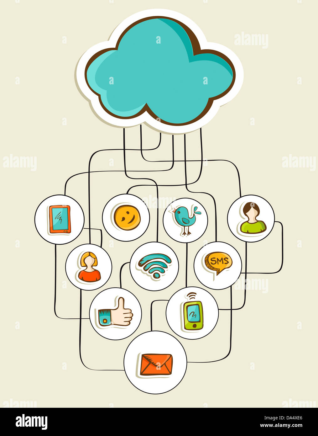 Cloud computing hand drawn social network diagram vector stock cloud computing hand drawn social network diagram vector illustration layered for easy manipulation and custom coloring ccuart Images