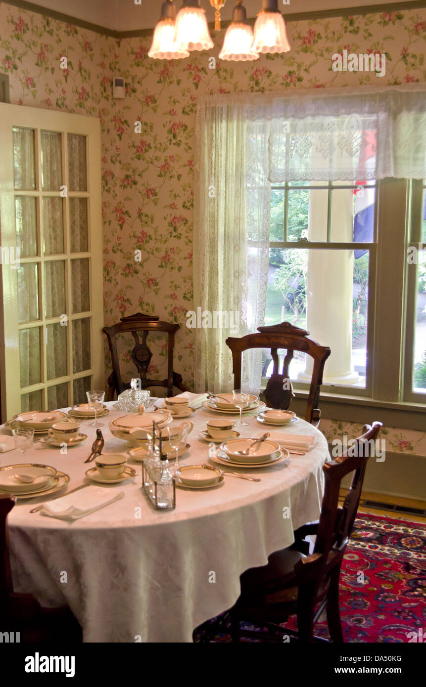 Delightful Antique Dining Room Setting Recreated In 1920s Style, Near Vancouver Canada.