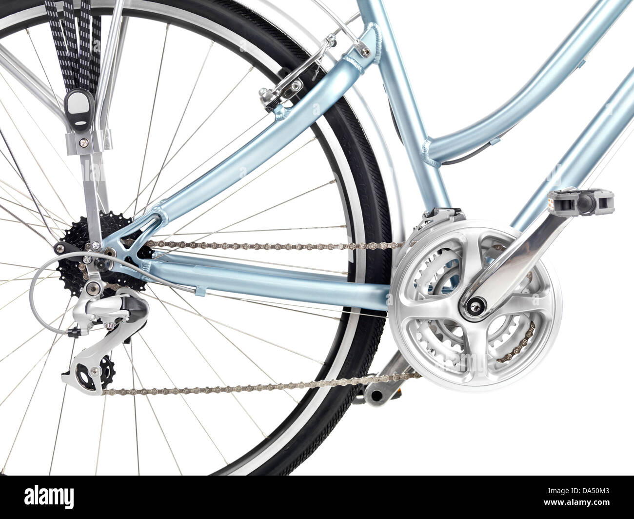 Bicycle rear wheel set of gears and pedals closeup isolated on white background - Stock Image
