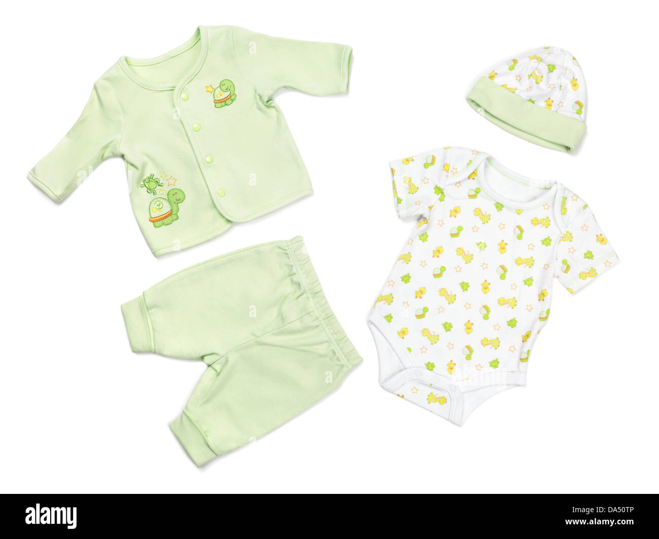 Green organic cotton baby pajama bodysuit and a hat set isolated on white background - Stock Image