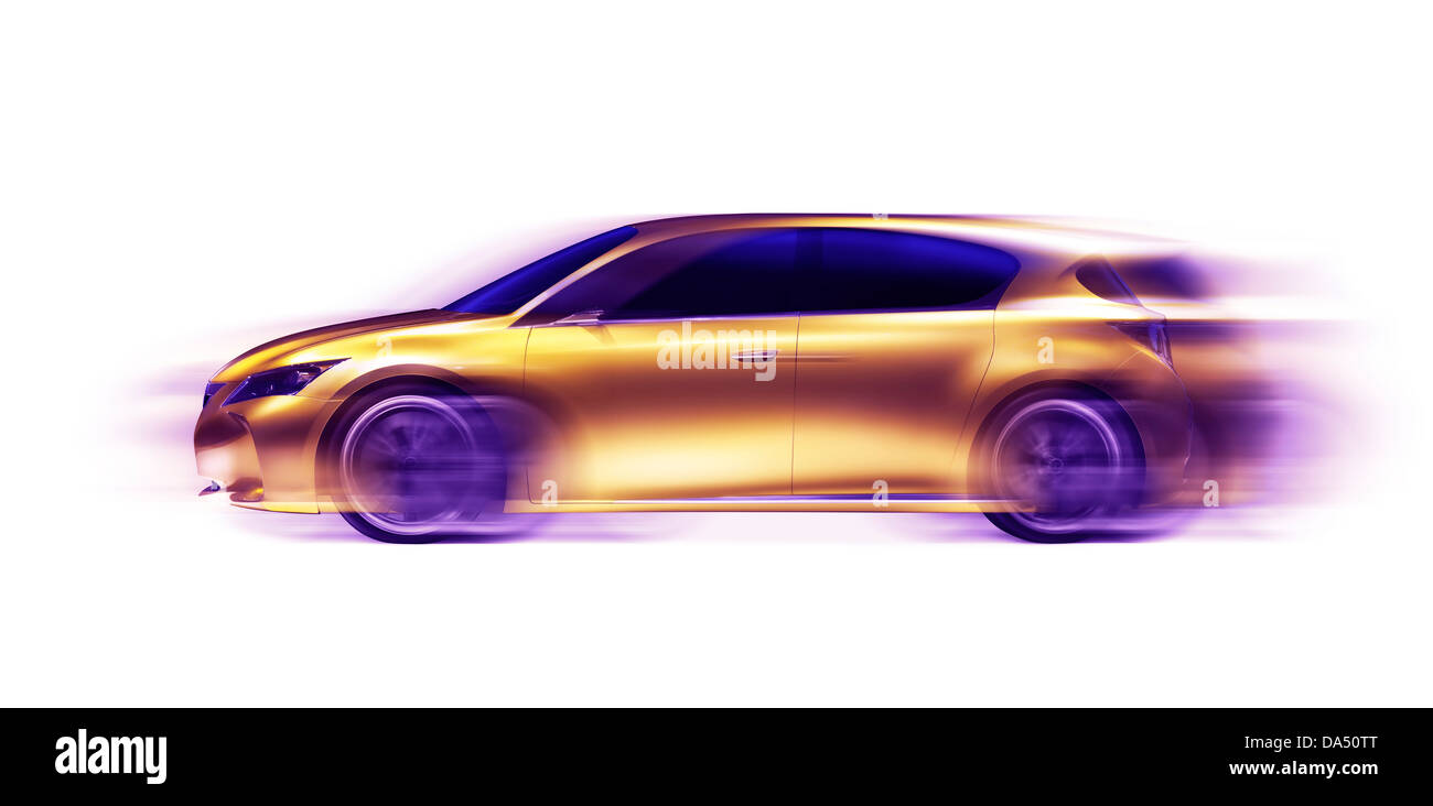 Artistic photo of a moving gold shiny Lexus LF-Ch hybrid concept car with motion blur symbolizing fast speed and - Stock Image