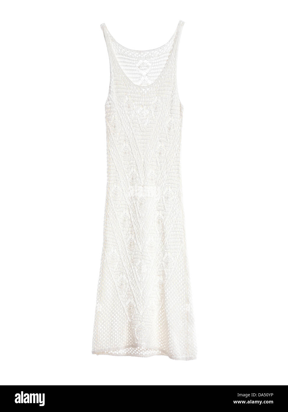 White crochet summer dress isolated on white background - Stock Image