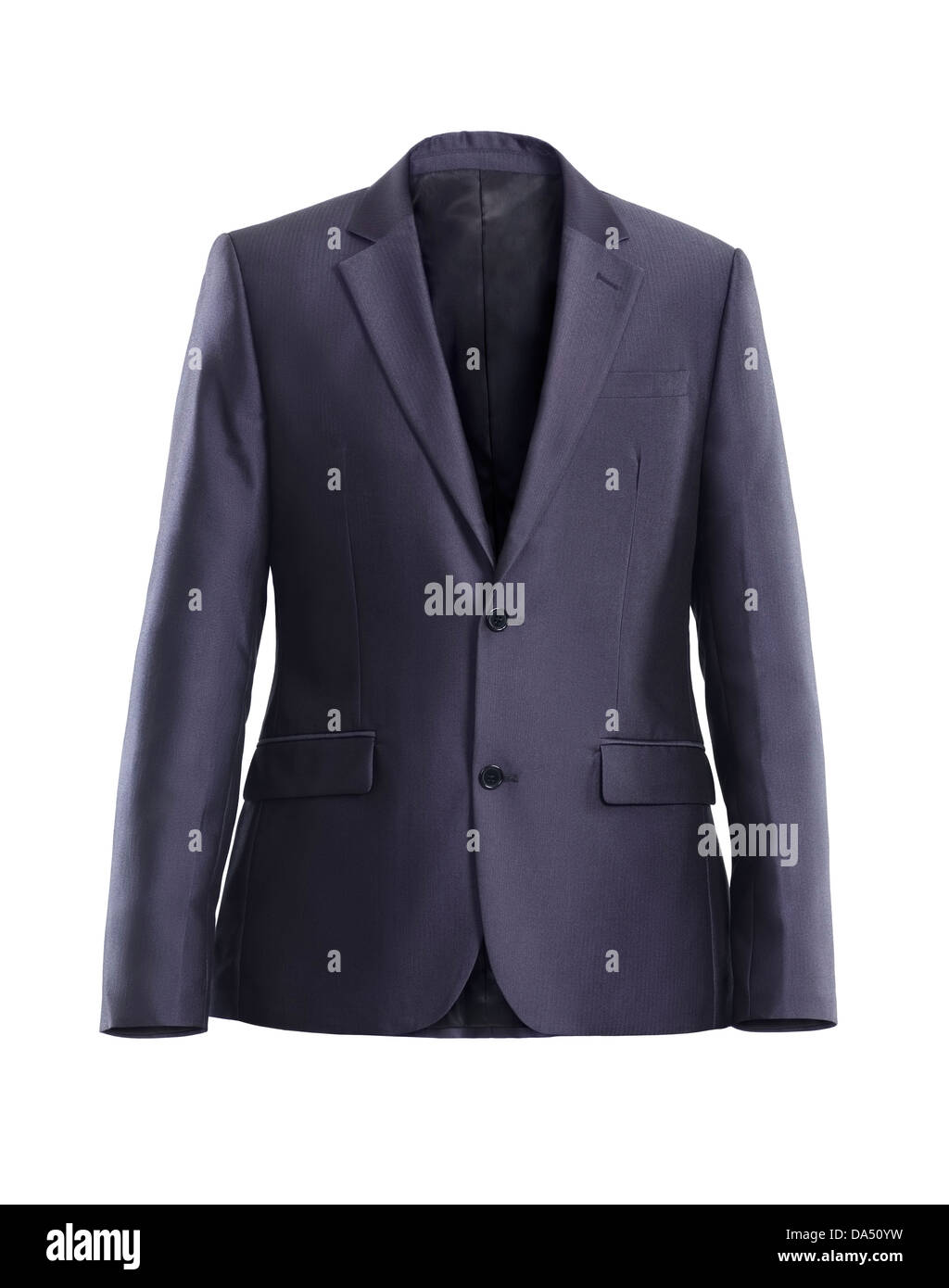 Business suit jacket, mens gray dress jacket isolated on white background - Stock Image