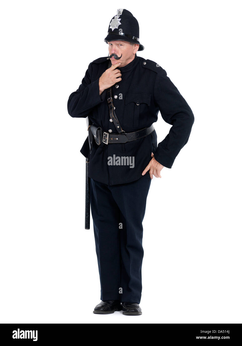 Vintage policeman with serious strict expression isolated on white background - Stock Image