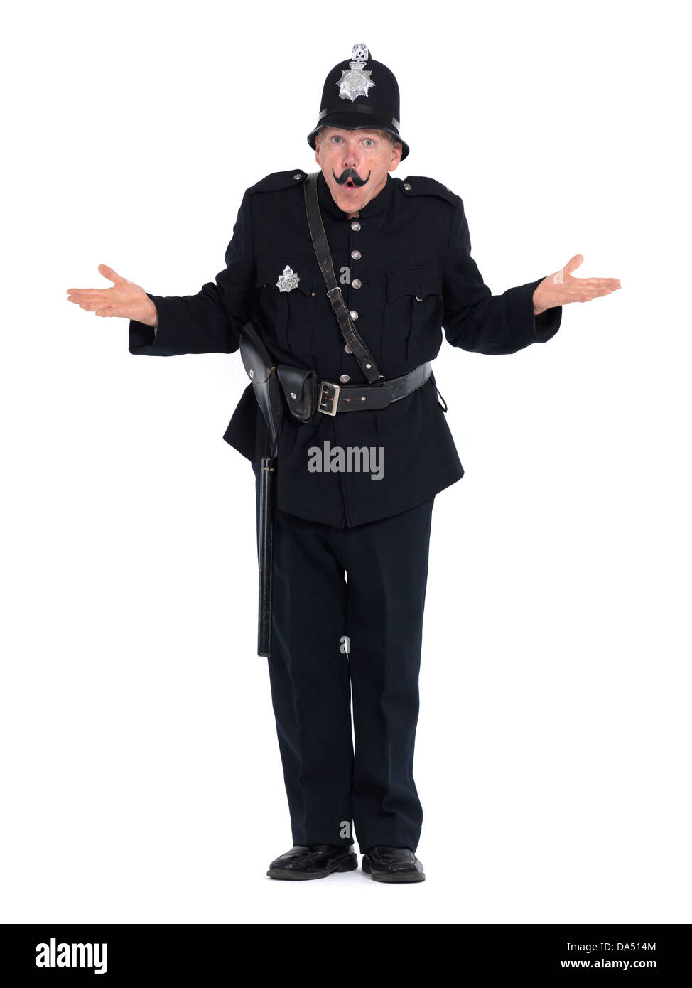 Humorous vintage police officer, keystone cop with funny expression, isolated on white background - Stock Image