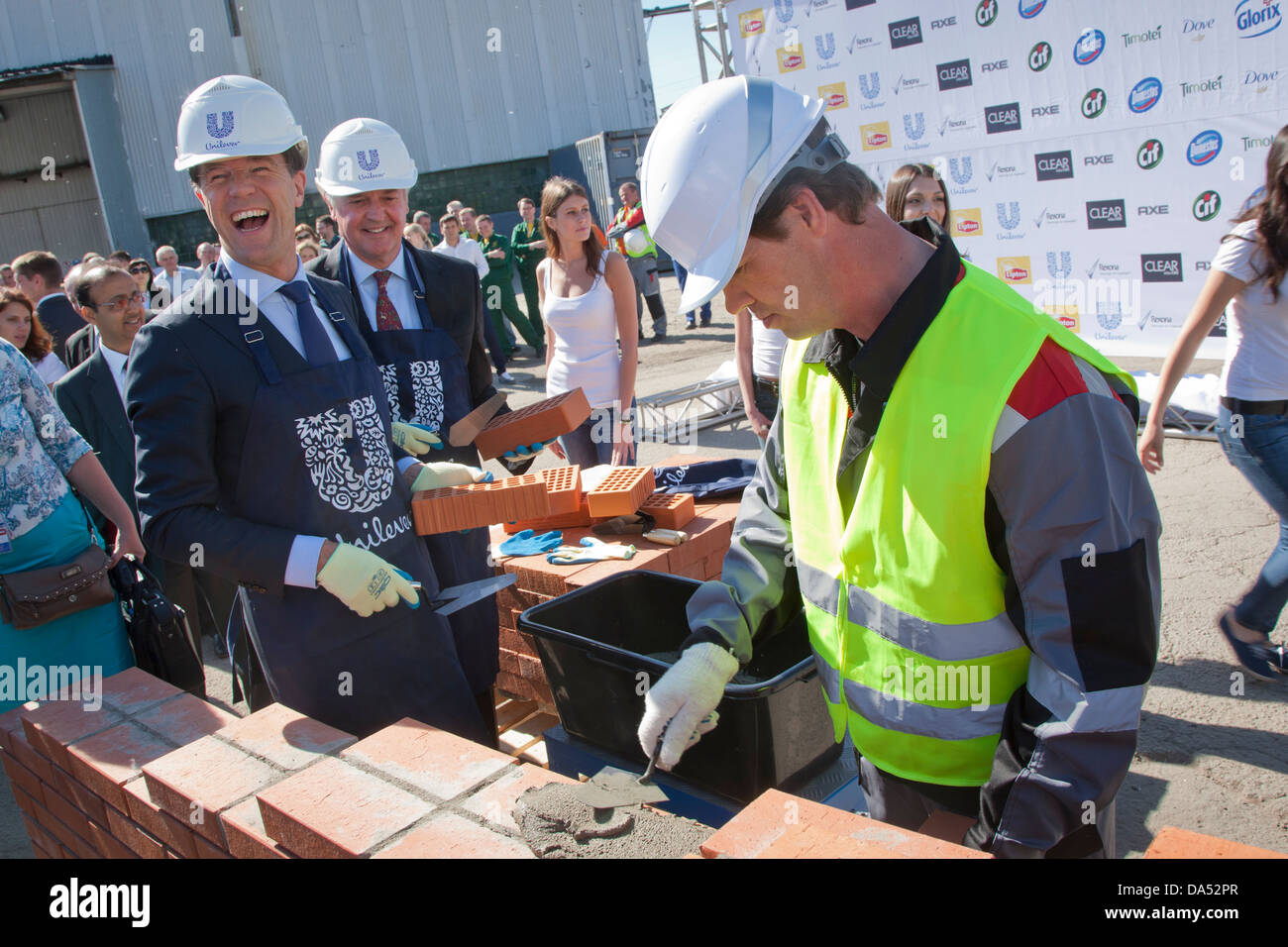 Dutch prime minister Mark Rutte takes part in a stone-laying ceremony for a new factory of Unilever in St. Petersburg, - Stock Image