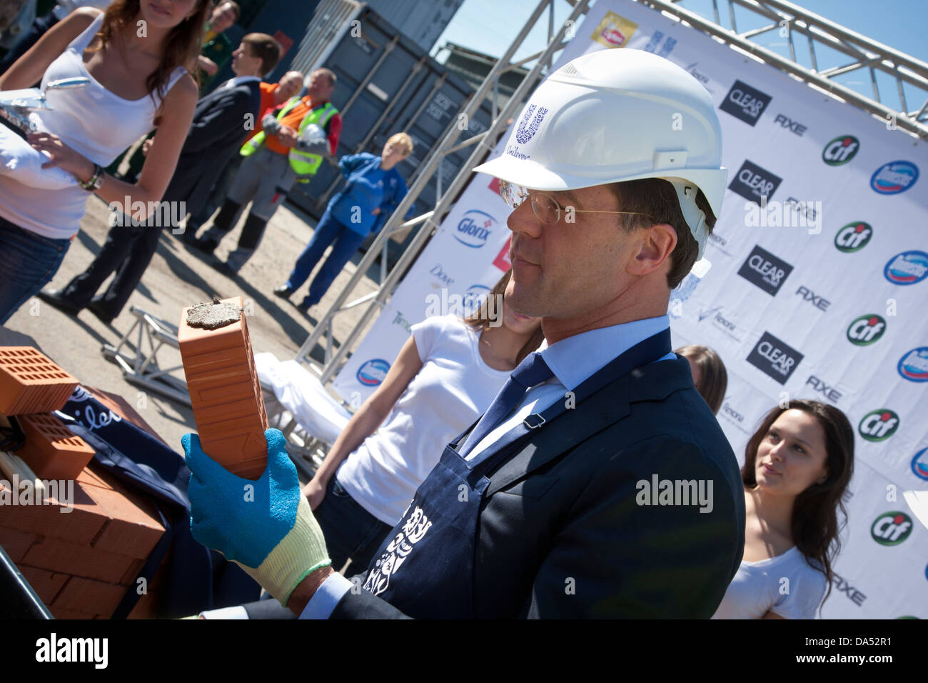 Dutch prime minister Mark Rutte takes part in a stone-laying ceremony for a new factory of Unilever in St. Petersburg, Stock Photo