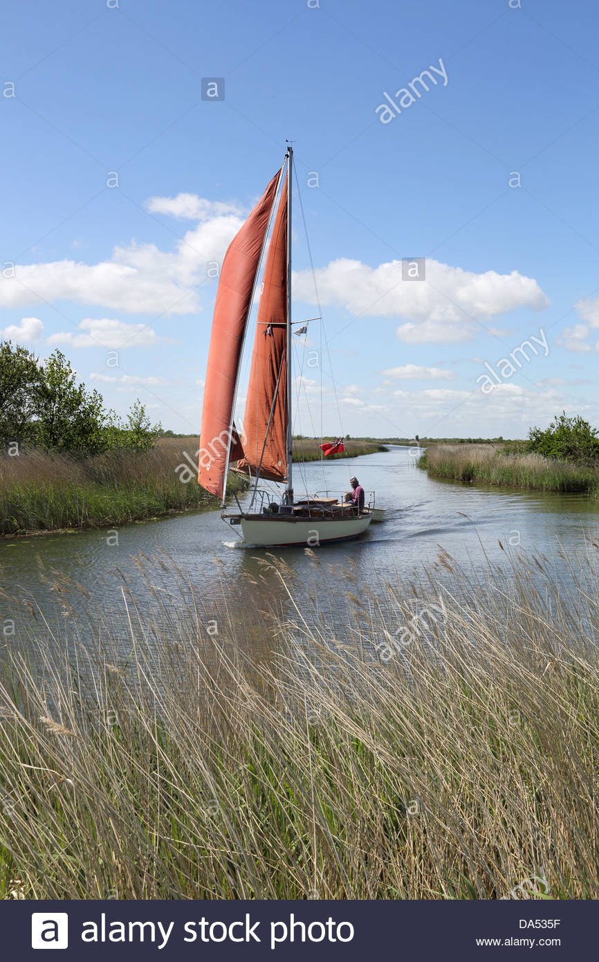 traditional sailing boat on martham broad near west somerton in Norfolk - Stock Image