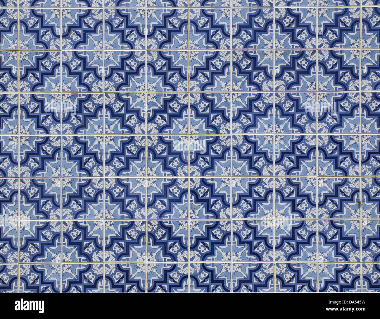 Typical Portugese Azulejos blue and white tiles - Stock Image