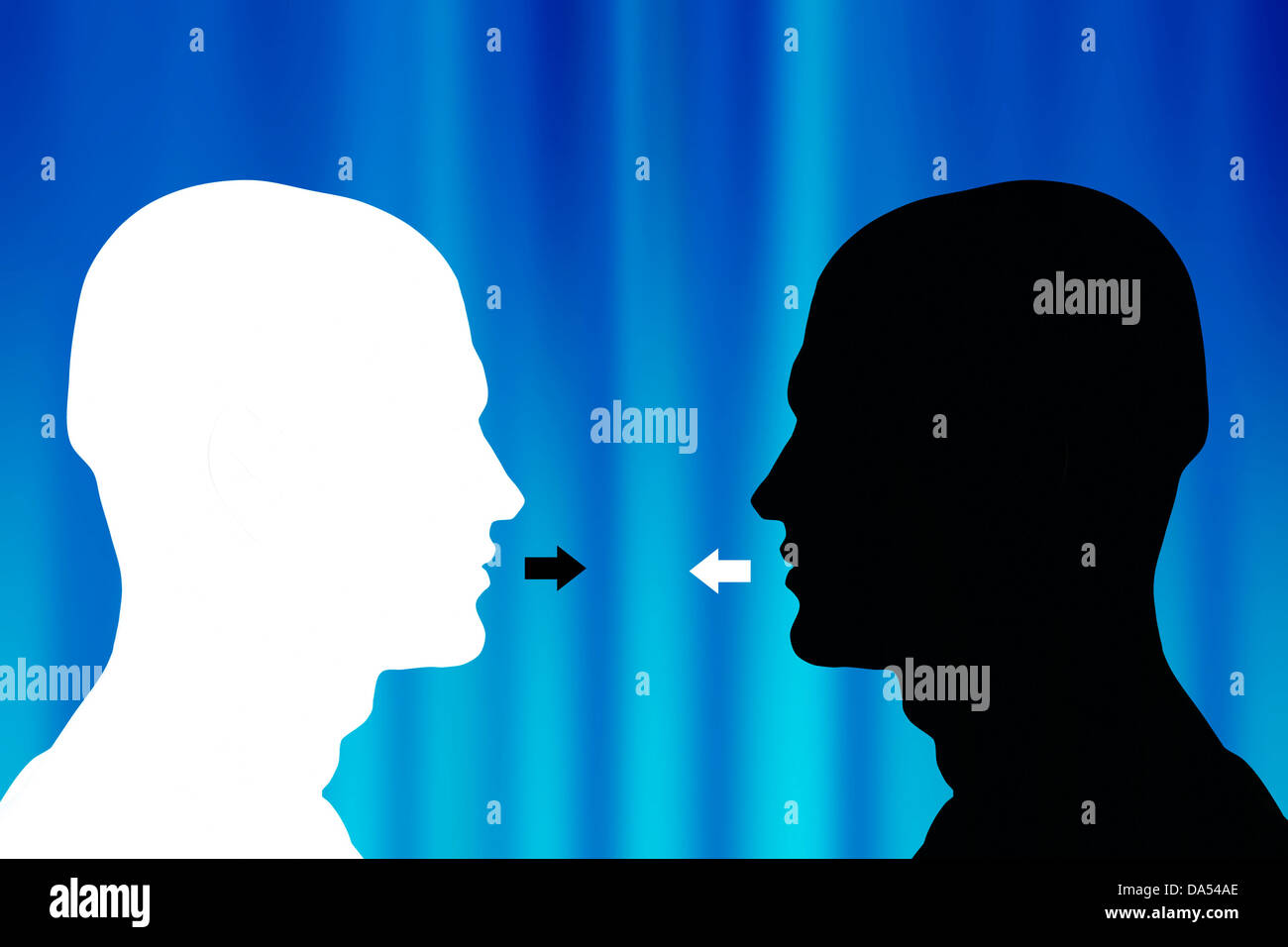 two opposite male heads silhouette facing each other - communication concept - Stock Image