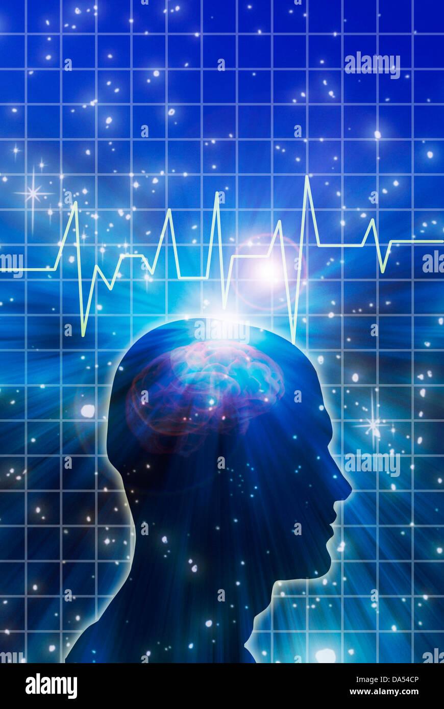 human head silhouette with brain waves or EEG - Stock Image