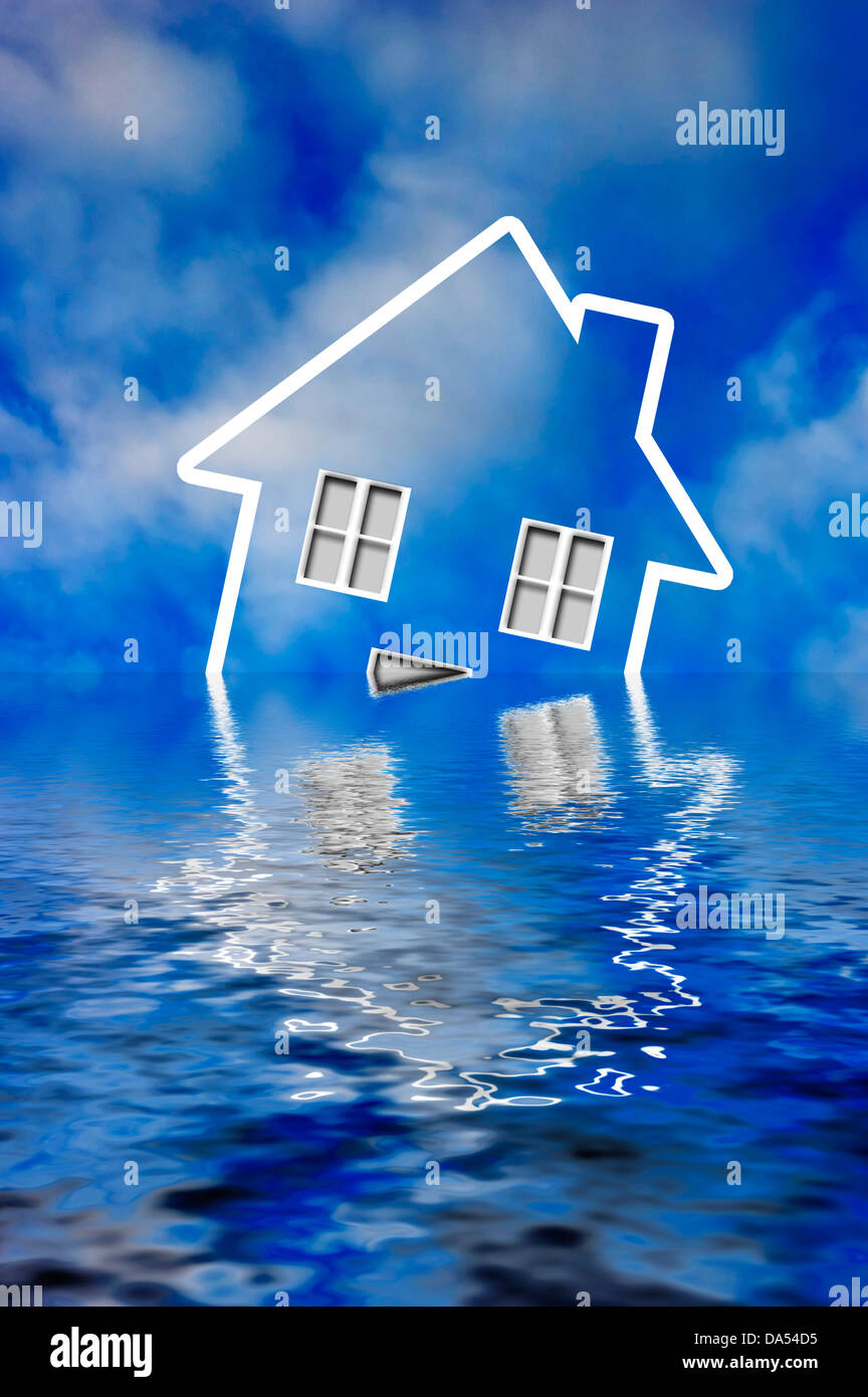 symbol of an house sinking under water - concept for mortgage crisis - Stock Image