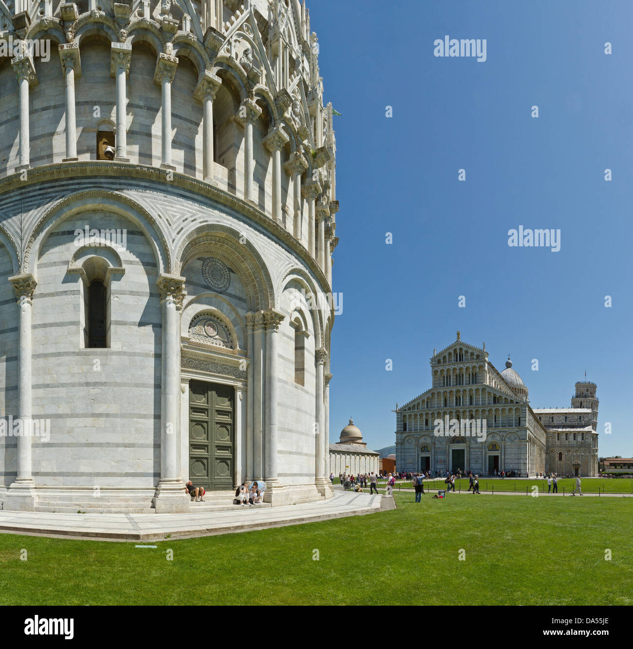 Pisa, Italy, Europe, Tuscany, Toscana, baptistry, skew tower, rook, tower, rook, cathedral, dome, cathedral, tourism - Stock Image