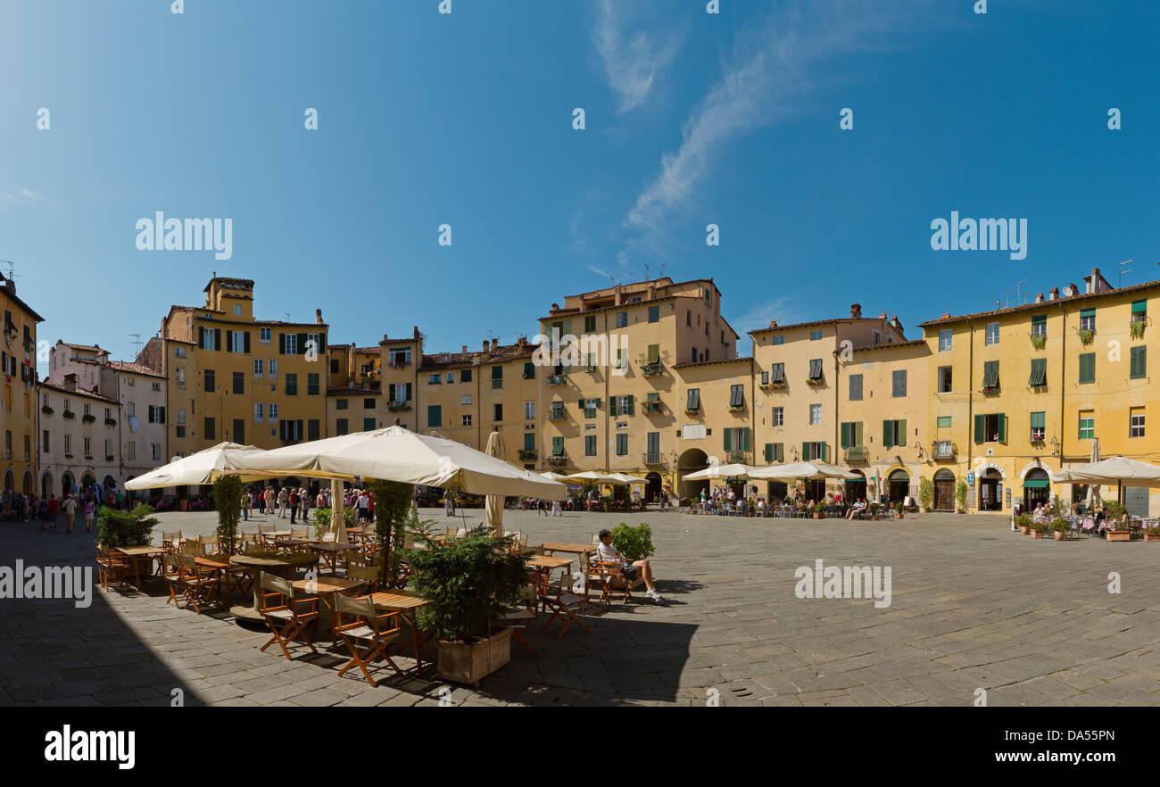 Lucca, Italy, Europe, Tuscany, Toscana, place, street cafe, - Stock Image