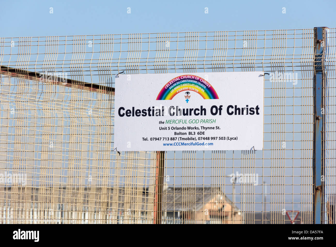 Sign for the Celestial Church of Christ  on Orlando Street, Bolton, a  Christian church with roots in the Aladura - Stock Image