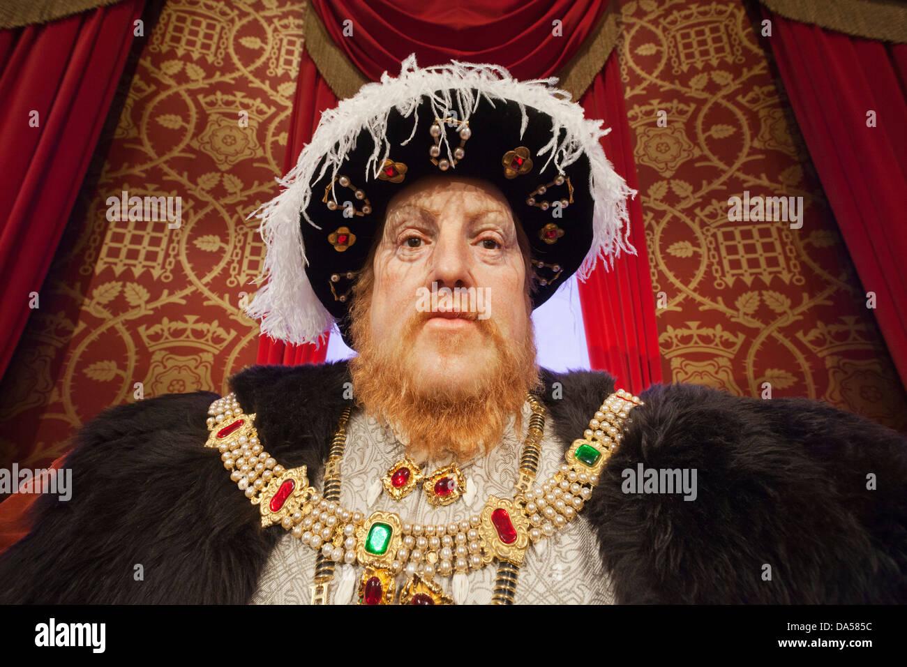 England, London, Madame Tussauds, Waxwork Display of Henry VIII - Stock Image