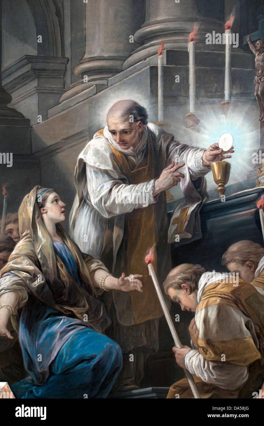 La Messe de saint Gregoire le miracle de l'hostie - The Mass of St. Gregory the miracle of the Host 1767 Carle - Stock Image
