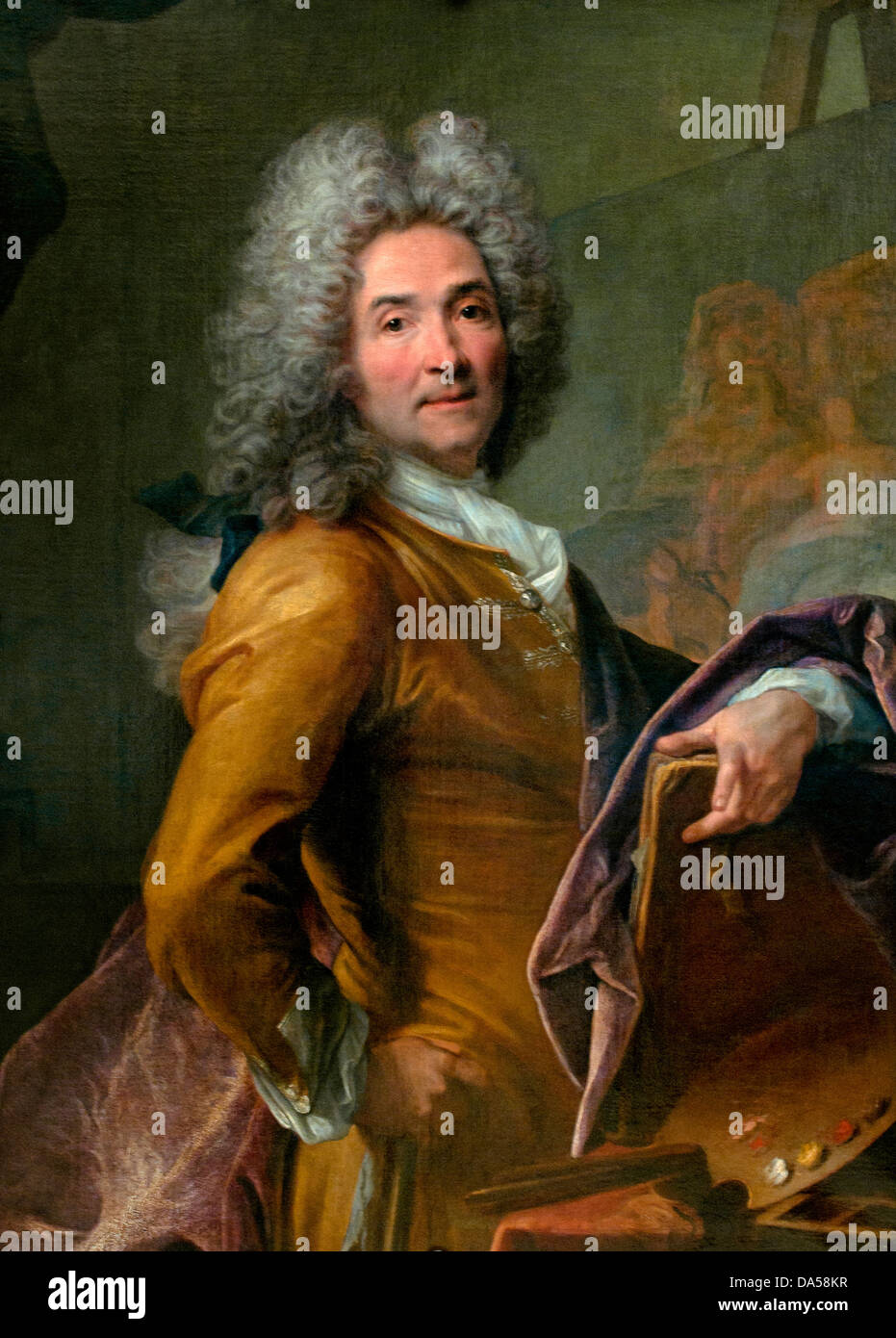 Autoportrait a la palette - self portrait with Palette by Joseph Vivien 1657-1734 France French - Stock Image