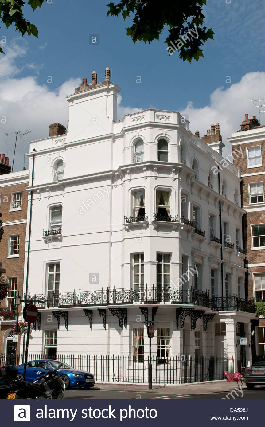 White corner house, Manchester Square, London, W1, UK - Stock Image
