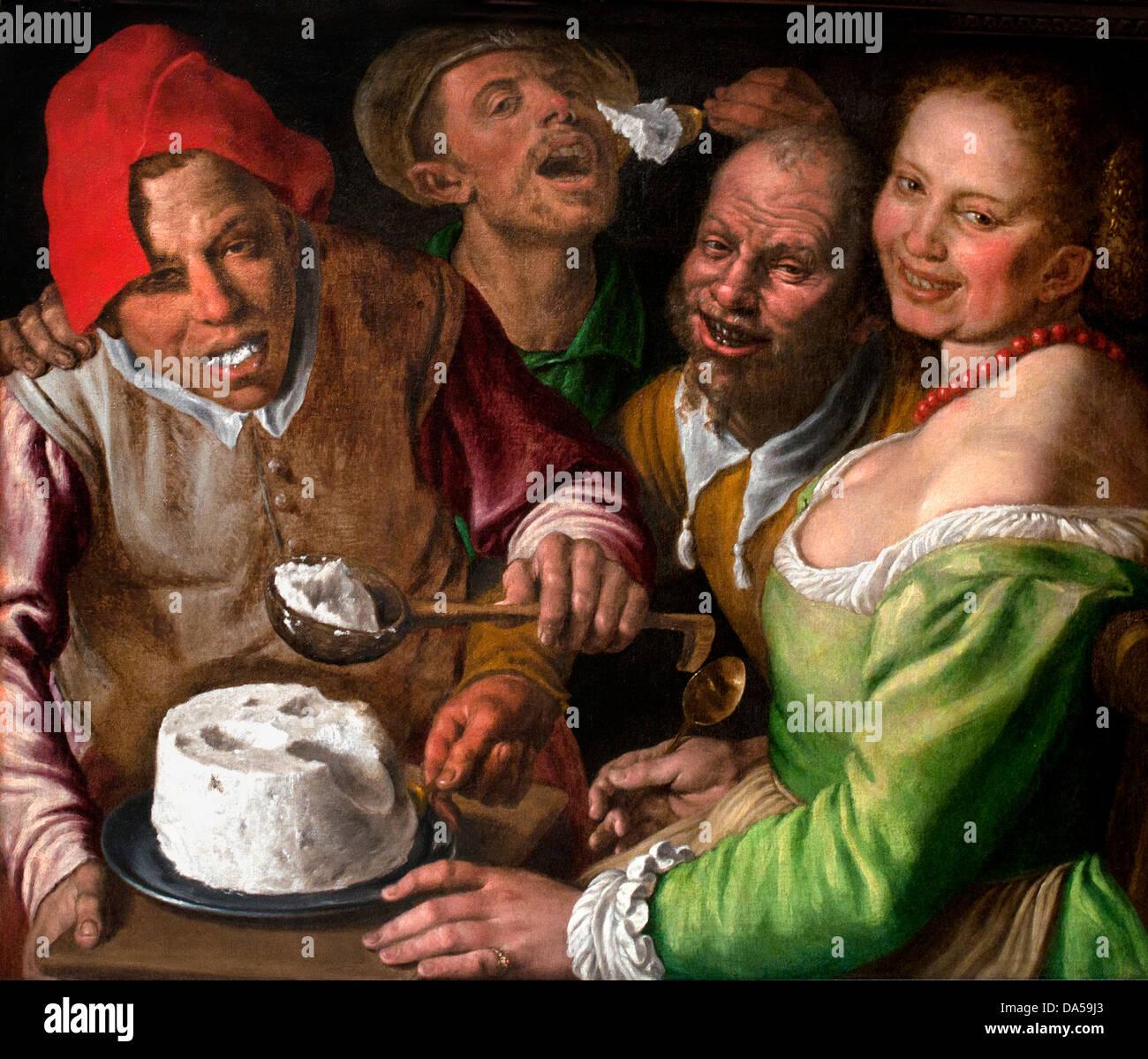 The ricotta Eater 1580 Vincenzo Campi 1536-1591Italy Italian - Stock Image